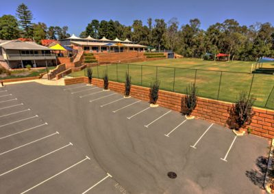 School carpark and sports fields